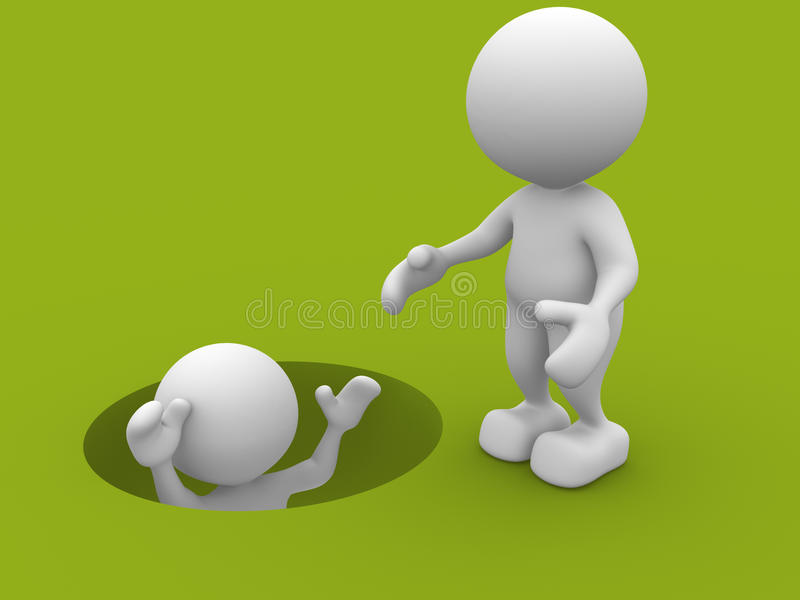 Helping. 3d people - man, person draw out of hole. Helping stock illustration