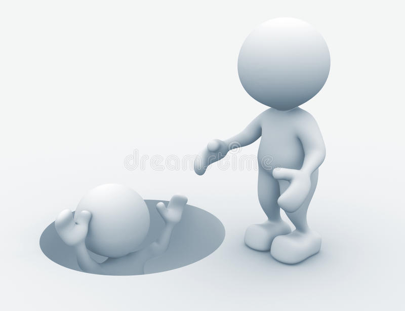 Helping. 3d people - man, person draw out of hole. Helping royalty free illustration