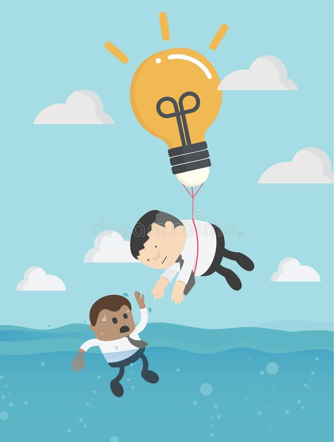 Helping Business to survive. Drowning businessman getting from another businessman stock illustration