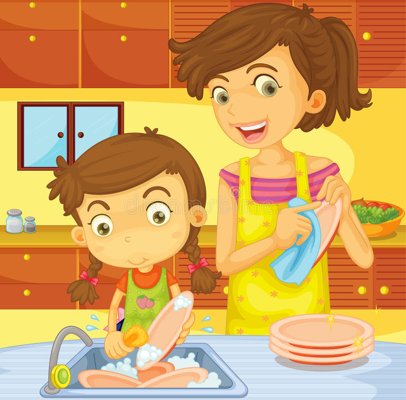 Helping with the dishes vector illustration