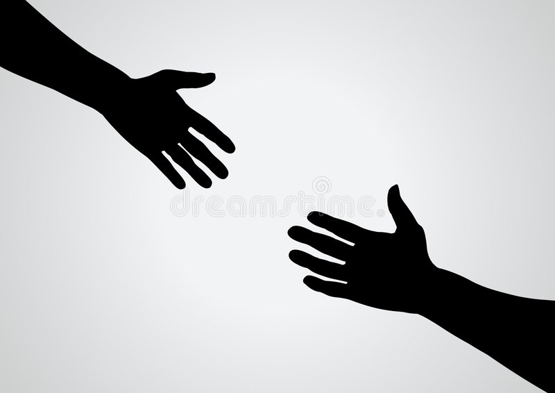 Helping Hand. Illustration of a hand reaching out for another vector illustration