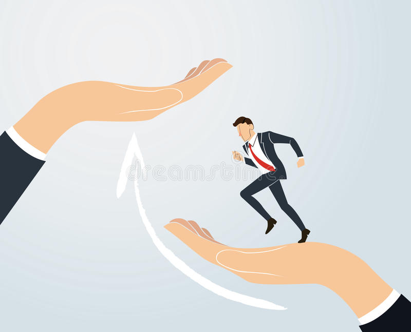 Helping Hand. Businessman running to success. business Concept vector. EPS10 vector illustration