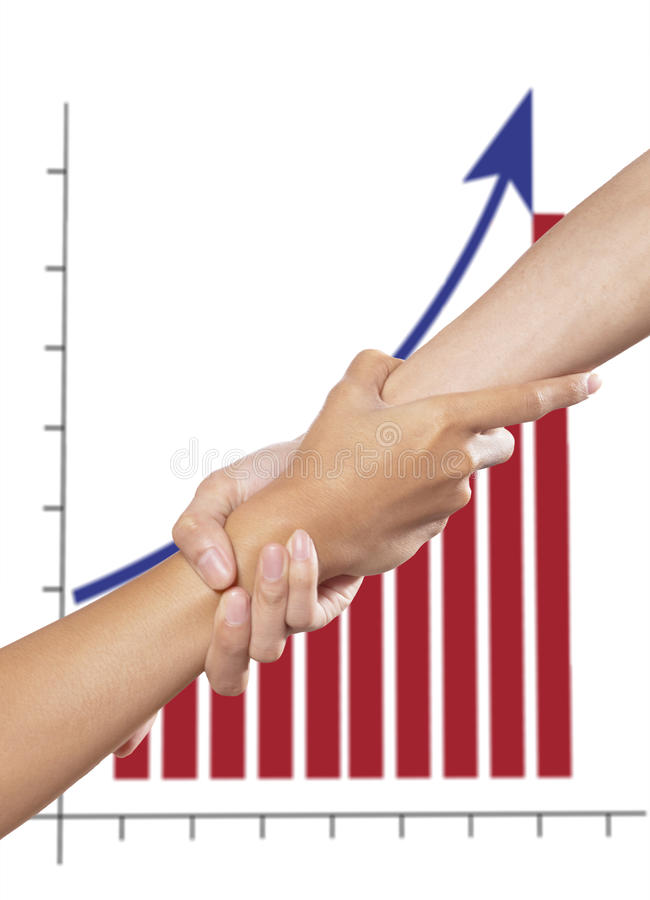 Helping Hand And Graph Stock Photos