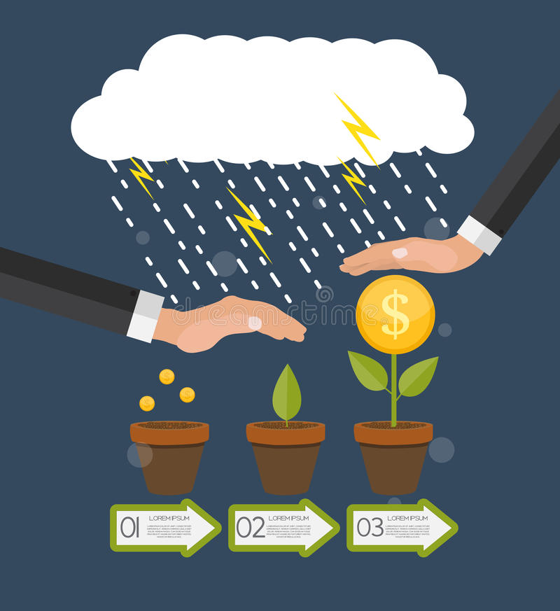Helping Hand. Money Tree, Financial Growth Flat Concept Vector I royalty free illustration