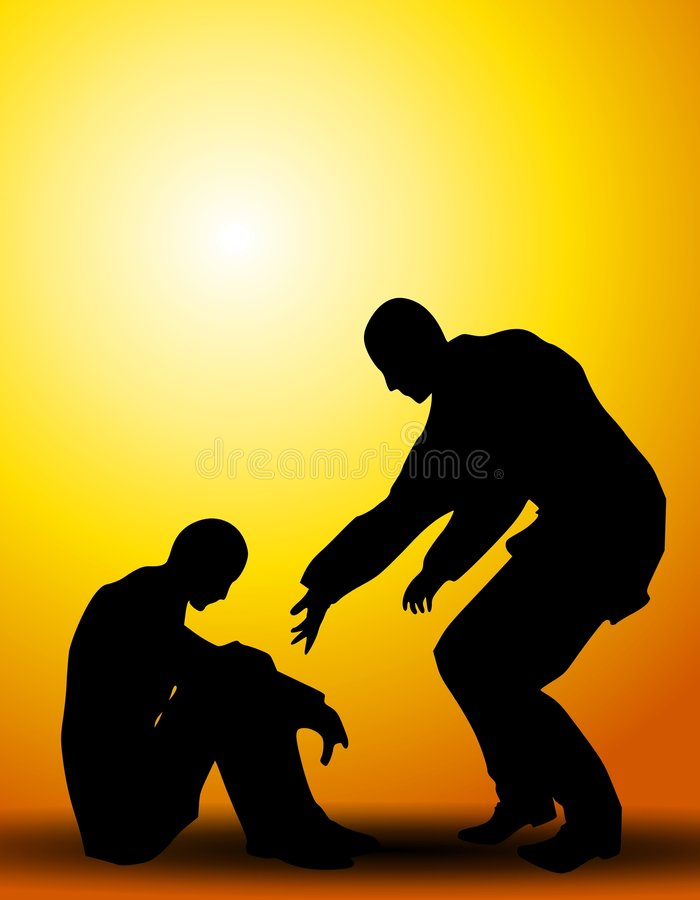 A Helping Hand People Silhouettes stock illustration