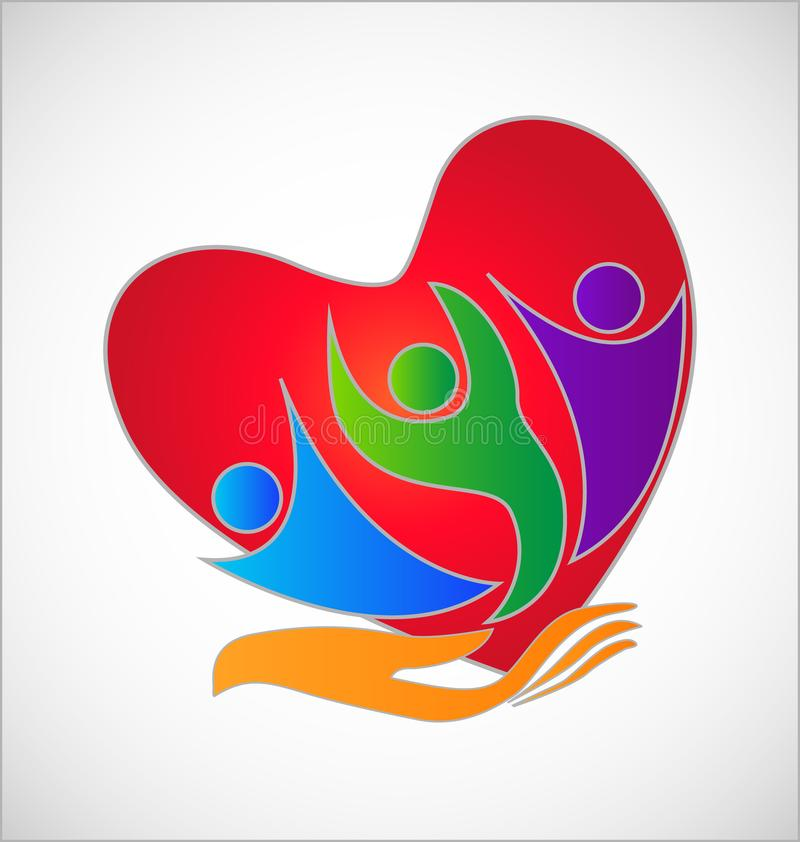 A helping hand to the people, heart symbol. Design illustration stock illustration