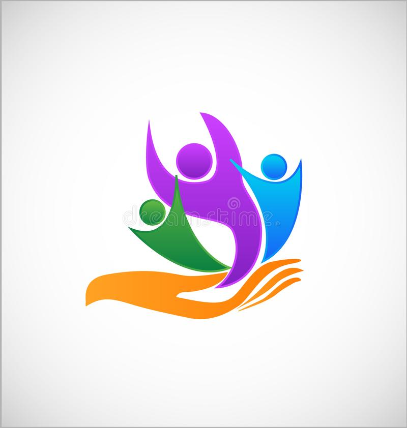 A helping hand to the people symbol. Design illustration royalty free illustration