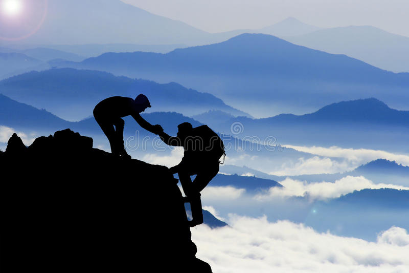 achieve together & team spirit & success stock photography
