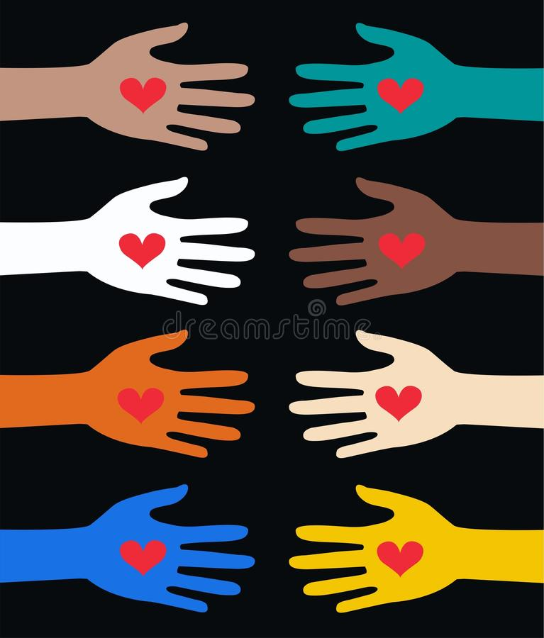 Download Helping hands stock vector. Image of cultural, brown - 22034195