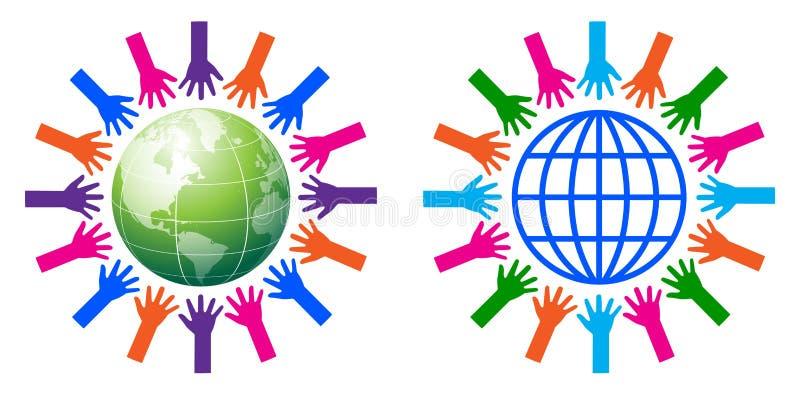 Helping hands around the globe stock illustration