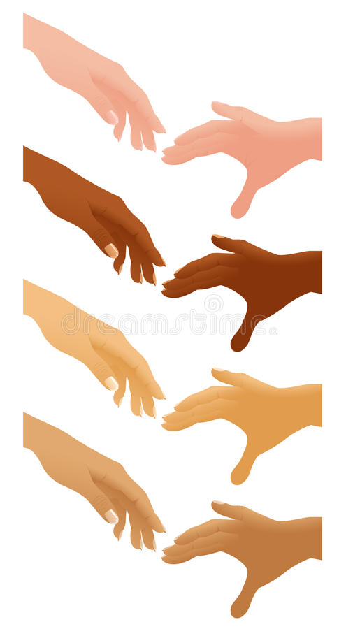 Helping Hands Different Nations Royalty Free Stock Image