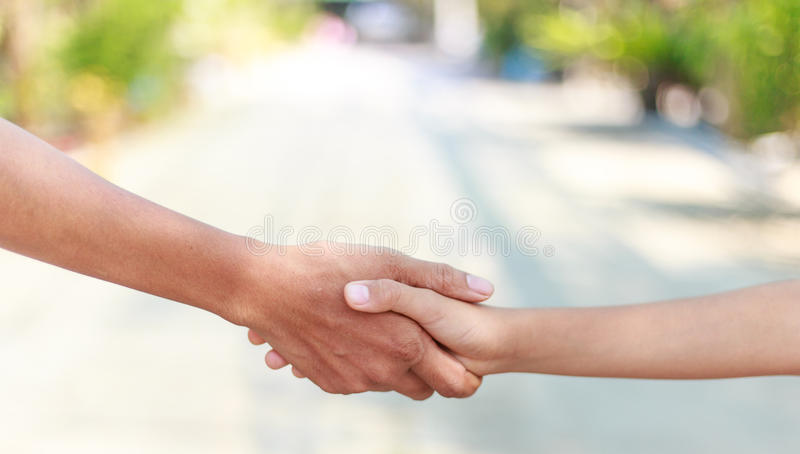 Helping hands - family support royalty free stock photo