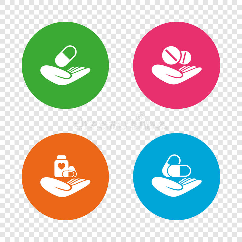 Helping Hands Icons Medical Health Insurance Stock Vector