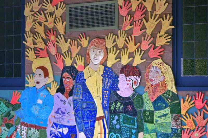 Helping Hands Mural Belgrave Victoria stock photo