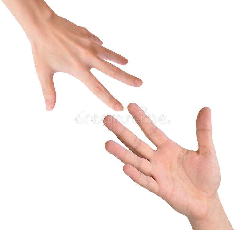 Helping Hands Reaching on White stock photos