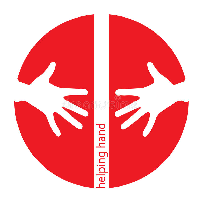 Helping hands red icon royalty free illustration