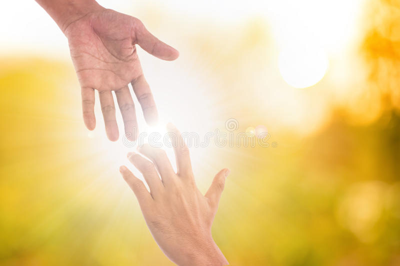 Helping hands support people for teamwork stock image