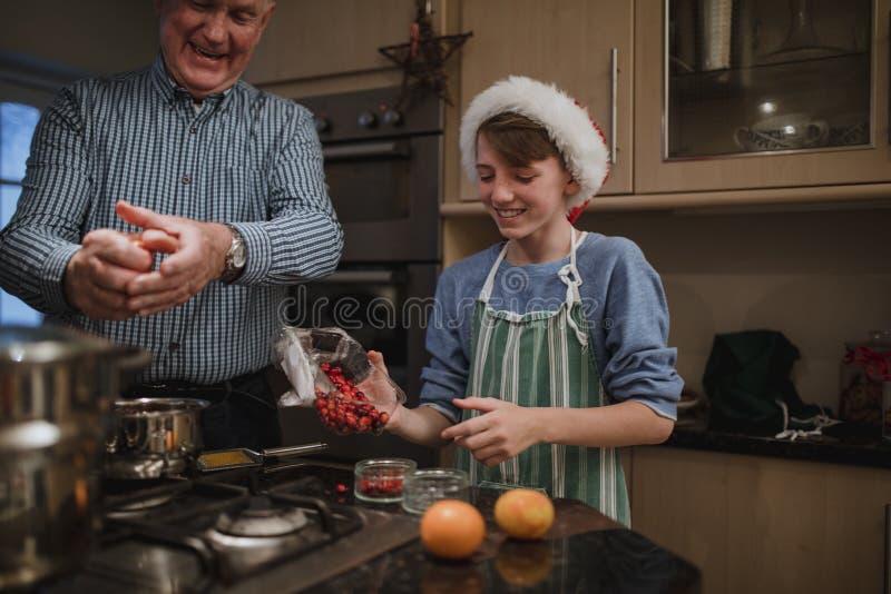 Helping Make Christmas Dinner royalty free stock photo