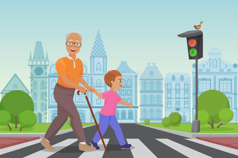 Helping senior old man. Little boy helps an old man to cross the road in city vector illustration. royalty free illustration