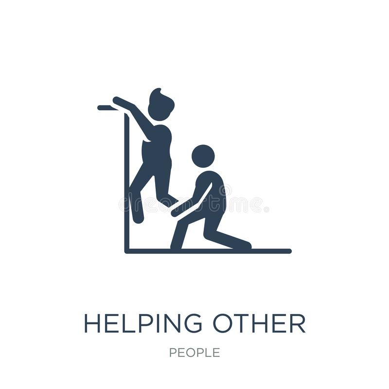 helping other to jump icon in trendy design style. helping other to jump icon isolated on white background. helping other to jump royalty free illustration