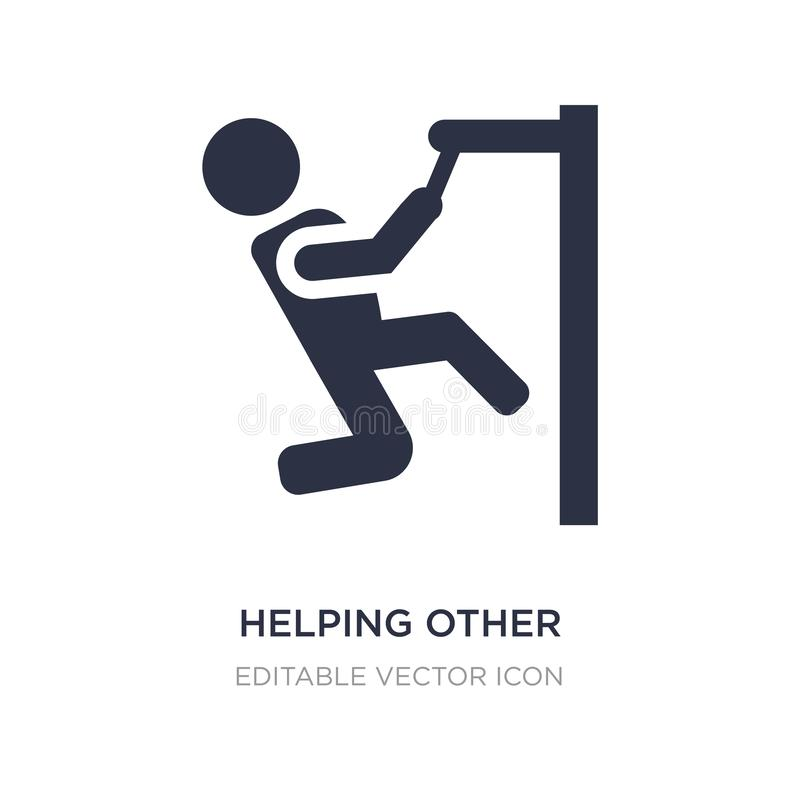 Helping other to jump icon on white background. Simple element illustration from People concept. Helping other to jump icon symbol design stock illustration