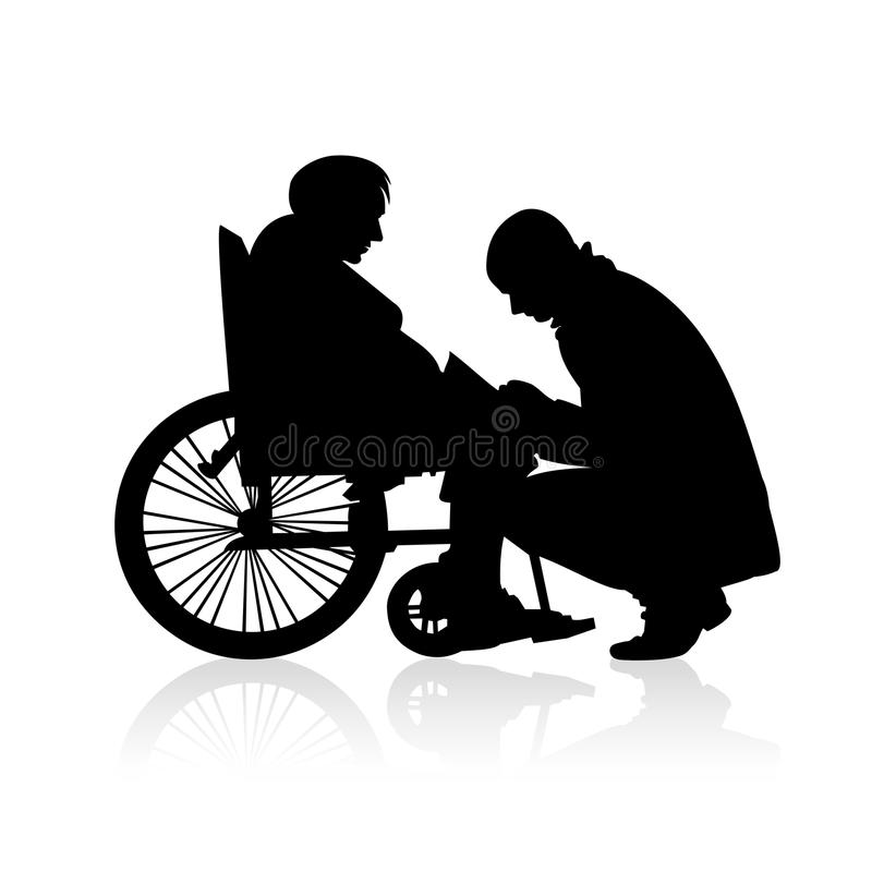 Helping people with disabilities - vector silhouettes. Young man helping an old woman in a wheelchair - people silhouettes royalty free illustration
