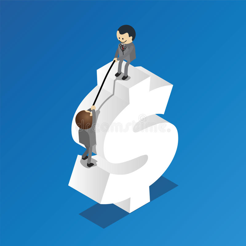 Helping to get to the top. Of dollar sign royalty free illustration