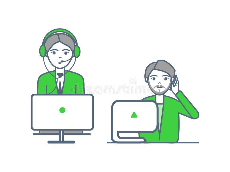 Helpline de Exploitanten van Centrum ontvangen Vraagvector vector illustratie