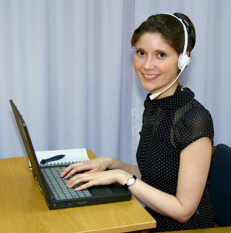 Helpline employee stock image