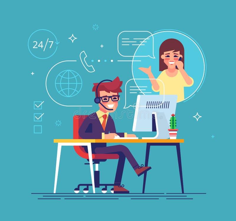 Helpline exploitant raadplegende cliënt Technologie-steun vector illustratie