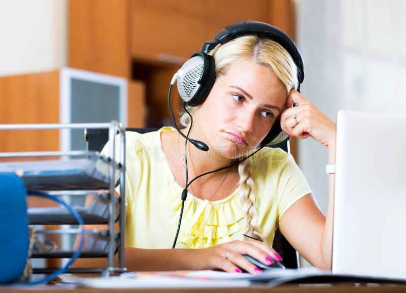 Helpline female operator royalty free stock photo
