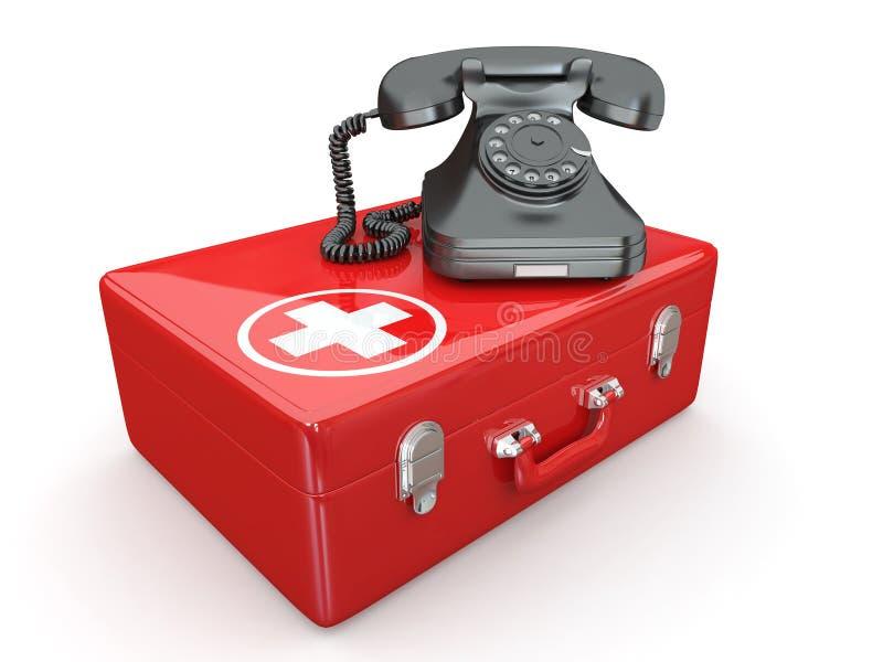 Helpline.Services. Teléfono en kit médico libre illustration