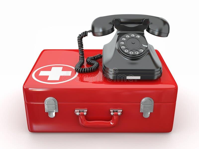 Helpline.Services. Telefoon op medische uitrusting stock illustratie