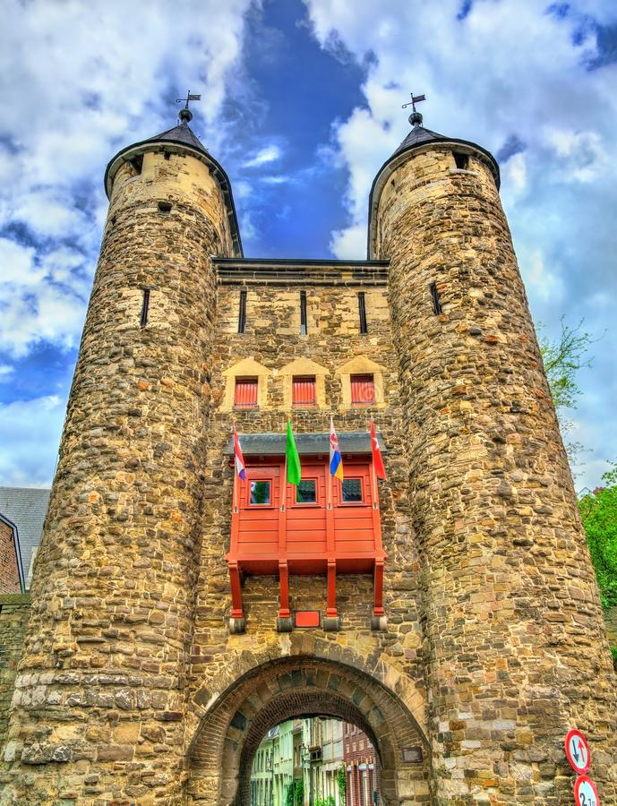 Helpoort or Hell Gate, a medieval gate in Maastricht, the Netherlands stock images