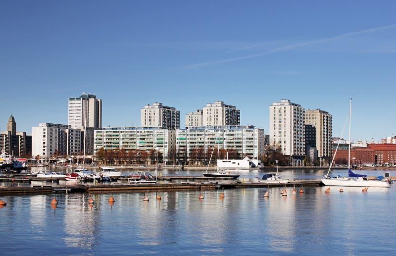 Helsínquia, área residencial de Merihaka fotos de stock