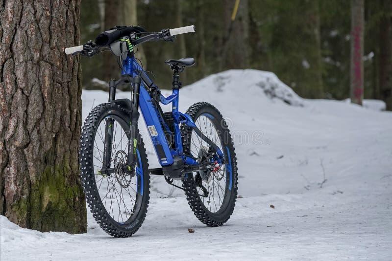 Helsínquia, Finlandia - 13 de março de 2019: Posição elétrica do Mountain bike contra a árvore na terra nevado em Helsínquia imagem de stock