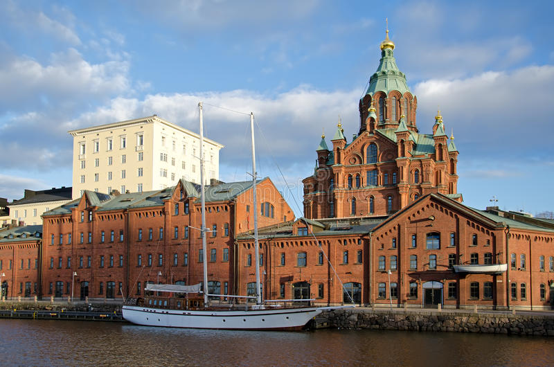 Helsínquia no por do sol. fotografia de stock royalty free