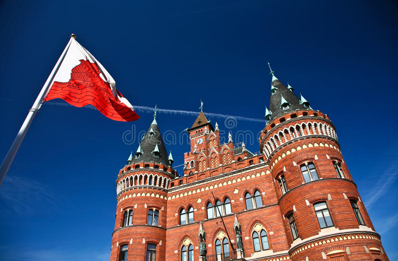 Helsingborg在瑞典: (城镇厅) 库存图片