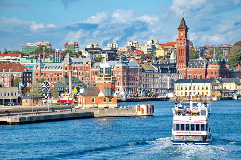 Helsingborg (Danimarca in Svezia) immagini stock libere da diritti