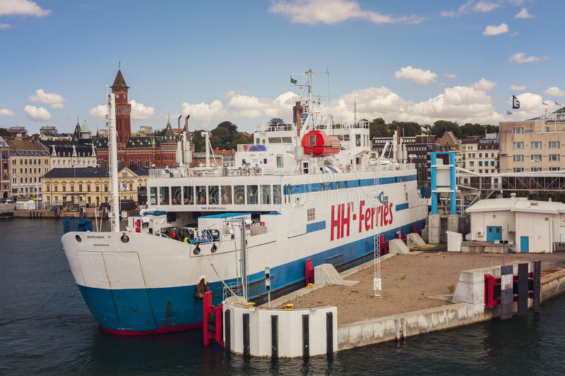Helsingborg Ferry. Ferry in the port of Swedish town Helsingborg, that ships cars and passengers to the Danish town of Helsingor stock photography