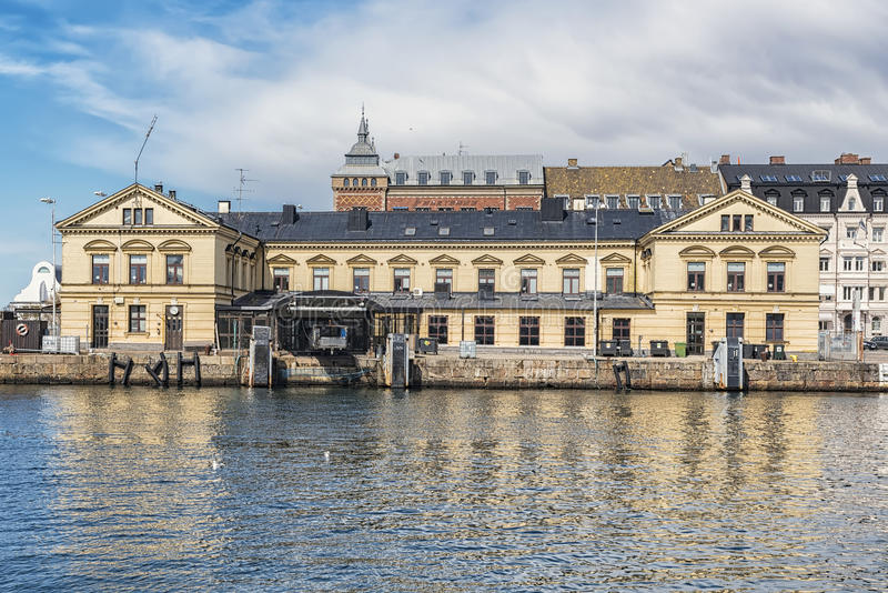 Helsingborg Ferry Terminal Building Facade. A view of the old ferry terminal building in the swedish town of Helsingborg royalty free stock photography