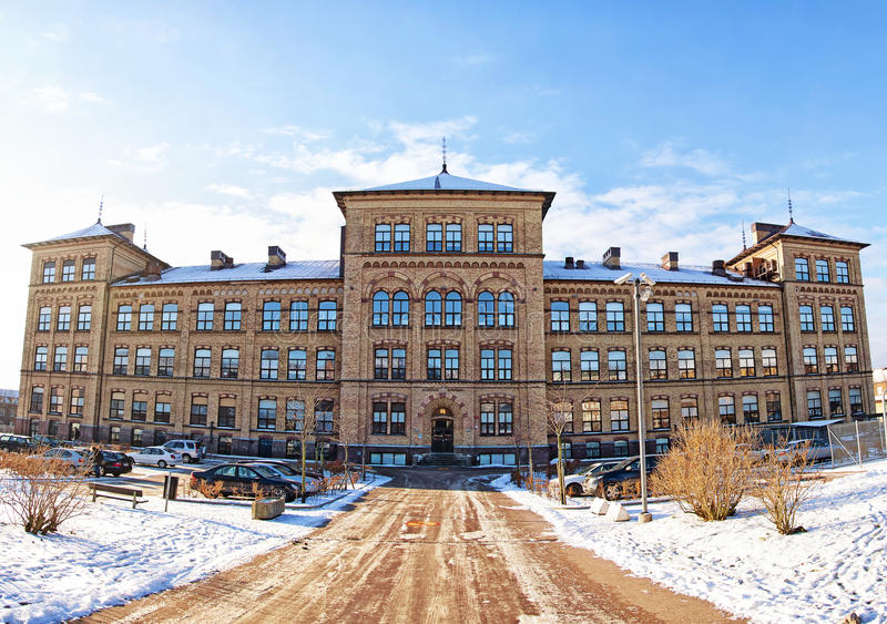 Helsingborg School. A stitched panorama of an old school in the swedish city of Helsingborg stock images