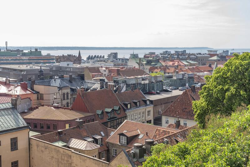 Helsingborg in Svezia veduta da sopra fotografia stock