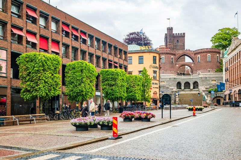 View of the city centre of Helsingborg in Sweden. Helsingborg, Sweden - May, 2019: View of the city centre of Helsingborg in Sweden stock photography