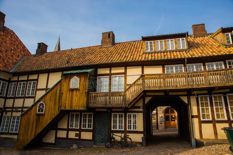 Helsingborg, Sweden: Traditional houses in the historical center. Tourists traveling and visiting the famous attractions in. Helsingborg, Sweden stock photo