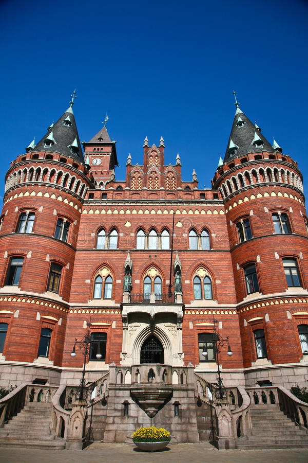 Helsingborg in Zweden: (stadhuis) stock foto