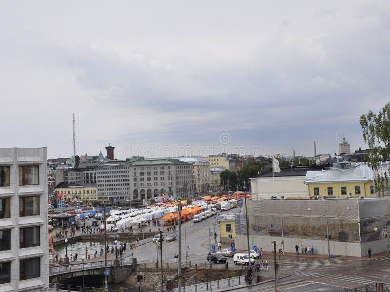 Helsingfors august panorama 23 2014-Quay från Helsingfors i Finland royaltyfri bild