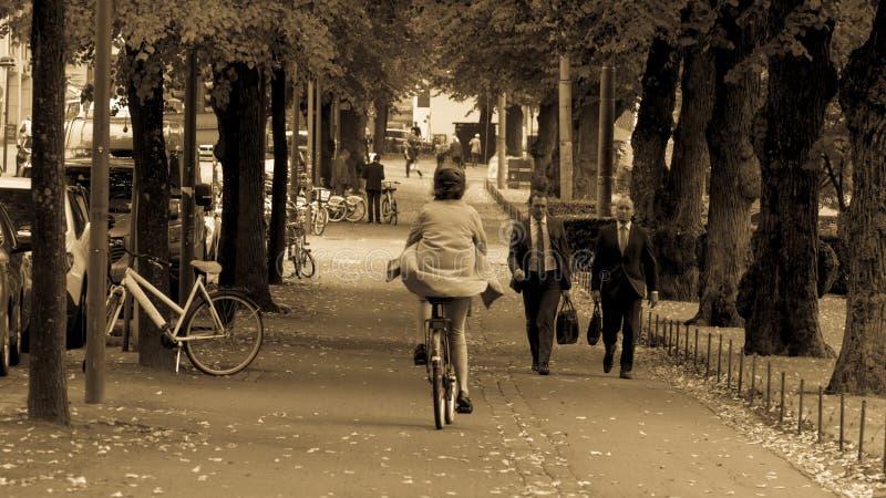 Helsingfors Finland - September 4, 2018 En kvinna som rider en cykel i en regnrock, bakstycken och en skyddande hjälm arkivbilder