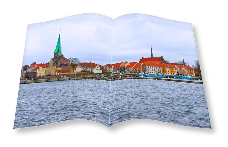 Helsingor city, the place where William Shakespear set the Hamlet. The village is located on the sea that separates Denmark from. Sweden. Image related to stock illustration
