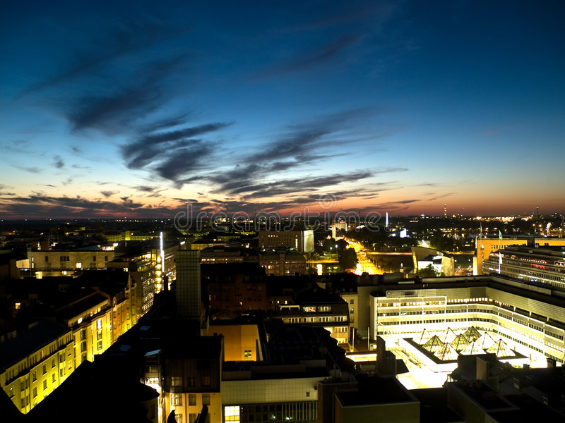 Helsini business downtown at night royalty free stock photos